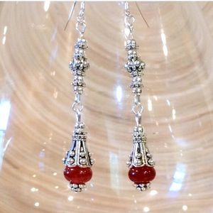 Jewelry - Rare red ruby jade dangle earrings